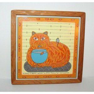 Vintage Taylor & Ng Kitty Katfish Cat Trivet Tile